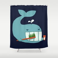 teeth Shower Curtains featuring Brush Your Teeth by Picomodi