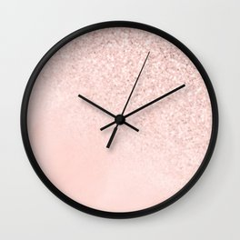 She Sparkles Rose Gold Pastel Light Pink Luxe Wall Clock