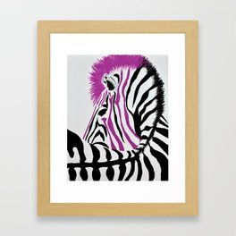 Pink Punk Rock Zebra Framed Art Print