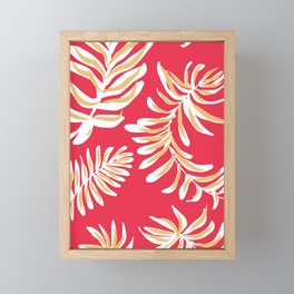 feather ferns on red Framed Mini Art Print