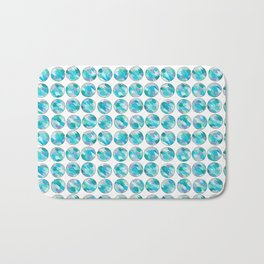 'An Ocean Dream' Abstract Illustration in blue, turquoise, aqua and silver Bath Mat