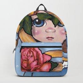 Big-Eyed Girl with Pink Rose on Head, Pop Surrealism, Original Art, Illustration Backpack