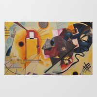 kandinsky Area & Throw Rugs featuring Wassily Study Repro yellow red blue 1925  by Christine baessler