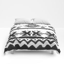 Black and White Watercolor Tribal Stripe Pattern Comforters