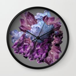 PURPLE AMETHYST WHITE QUARTZ CRYSTALS Wall Clock