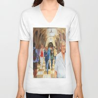 moscow V-neck T-shirts featuring Moscow Metro by Eli Gross Art