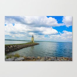 The East Wharf Lighthouse at Lake Hefner, Oklahoma City. Canvas Print