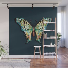 Watercolor Butterfly on Teal Green 1 Wall Mural