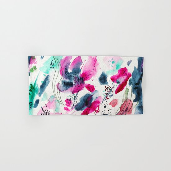 Floral abstraction #2 || watercolor Hand & Bath Towel