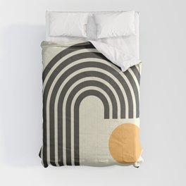 Geometric Lines in Gold and Black 4 (Rainbow and Sunrise Abstract) Comforters