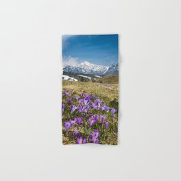 Mountains and crocus flowers on Velika Planina, Slovenia Hand & Bath Towel