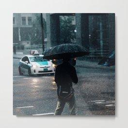 Chicago Rain Silhouette  Metal Print