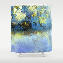Bright Blue and Golden Pond Shower Curtain