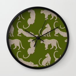 Leopard Block Party - Olive Wall Clock