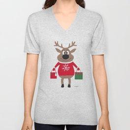 Merry Christmas Reindeer Unisex V-Neck