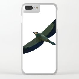 European Roller In Flight Silhouette Vector Clear iPhone Case