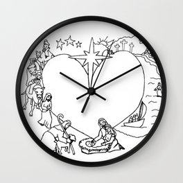 Wrapped in the arms of His love sketch Life of Christ Nativity to Resurrection Wall Clock