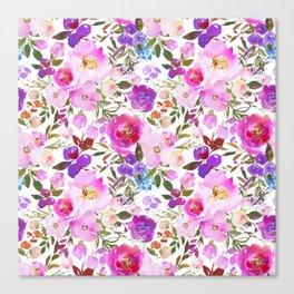 Elegant blush pink violet lavender watercolor summer floral Canvas Print