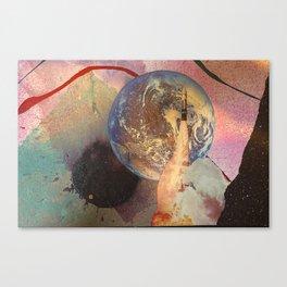 Earth Rocket Blast Off Mixed Media Canvas Print