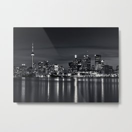 Toronto Skyline At Night From Polson St No 2 Black and White Version Metal Print