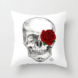 Rose Skull Throw Pillow