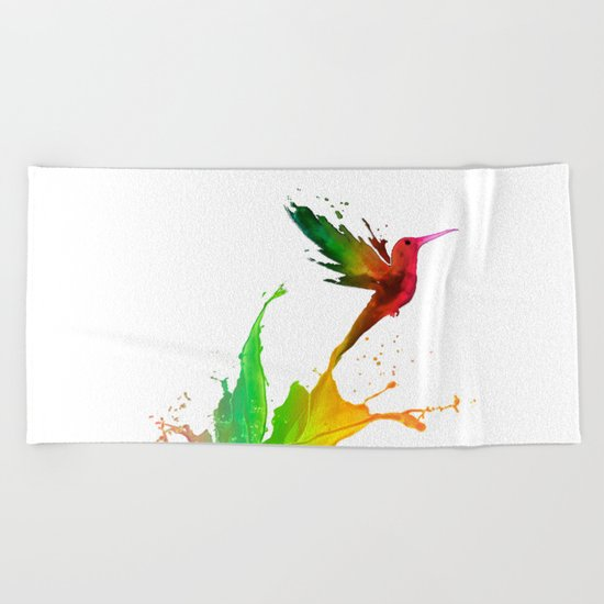 Humming Bird Colors Beach Towel