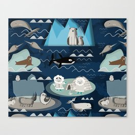 Arctic animals blue Canvas Print