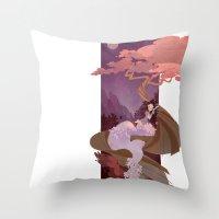 snow white Throw Pillows featuring Snow White by Ann Marcellino