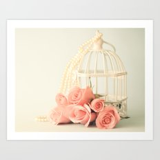 Coral roses in a still life Art Print