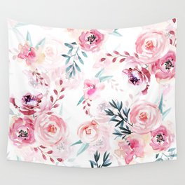 Pink Watercolor Florals I Wall Tapestry