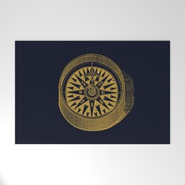 The golden compass I- maritime print with gold ornament Welcome Mat