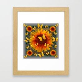 GREY KANSAS YELLOW  SUNFLOWERS BUTTERFLY DECO Framed Art Print