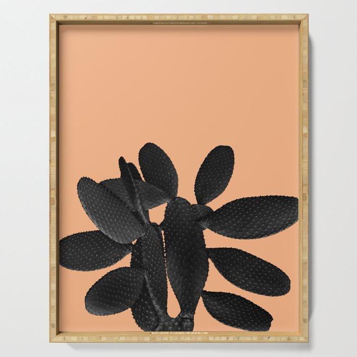Black Pastel Orange Cacti Vibes #1 #plant #decor #art #society6 Serving Tray