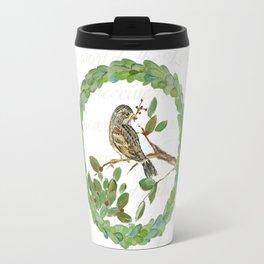 Winter Finch holiday wreath Travel Mug