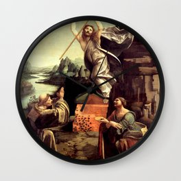 """Giovanni Antonio Boltraffio """"The Resurrection of Christ with the Saint Leonard of Noblac and Lucia"""" Wall Clock"""