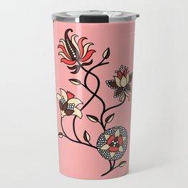 Whimsical illustrated Indian floral pink Travel Mug