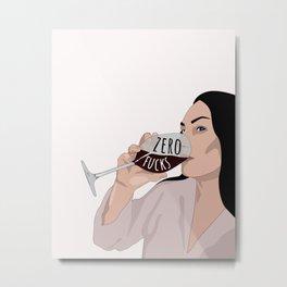 Zero Fucks Illustration Metal Print