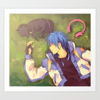 dramatical murder Art Prints featuring Dramatical Murder-Aoba & Ren by Gin-Uzumaki