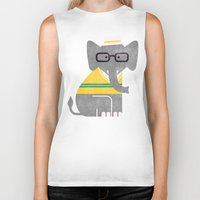 preppy Biker Tanks featuring Rodney the preppy elephant by Picomodi