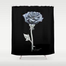 Rose 03b Botanical Flower * Blue Black Rose Shower Curtain