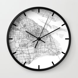 Shanghai City Map of China - Light Wall Clock