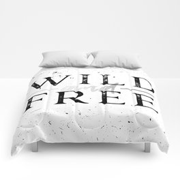 Wild and Free Silver on White Comforters