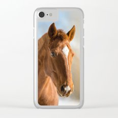 Brown Horse Winter Sky Clear iPhone Case