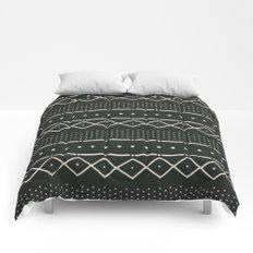 Mudcloth in bone on black Comforters