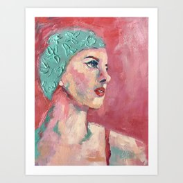 Swim Cap Sally Art Print