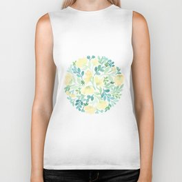 Yellow and Blue Floral Circle Biker Tank