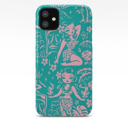 Tiki Temptress in Pink and Turquoise iPhone Case