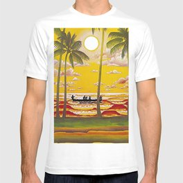 Surf Hawaii, Outrigger, Hawaiian Sunset Portrait T-shirt