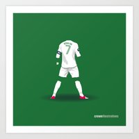 ronaldo Art Prints featuring Ronaldo 7 by Crewe Illustrations