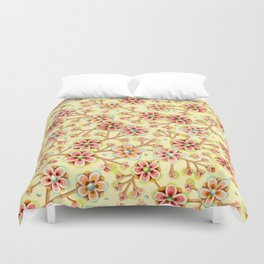 Candy Apple Blossom Yellow Duvet Cover
